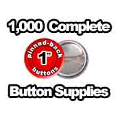1,000 x Pinned Back Button Supplies 1 inch