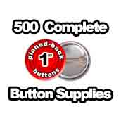 500 x Pinned Back Button Supplies 1 inch