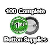 100 x Pinned Back Button Supplies 1-1/4 inch