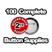 100 x Pinned Back Button Supplies 2-1/2 inch
