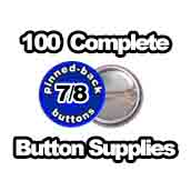 100 x Pinned Back Button Supplies 7/8 inch