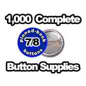 1,000 x Pinned Back Button Supplies 7/8 inch
