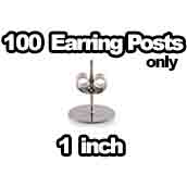 100 x Earring Posts with Backs Only 1 inch