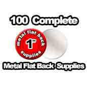 100 x Metal Flat Back Supplies 1 inch