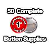 50 x Pinned Back Button Supplies 1 inch