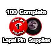 100 x Lapel Pin Supplies 1 inch