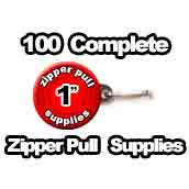 100 x Zipper Pull Supplies 1 inch
