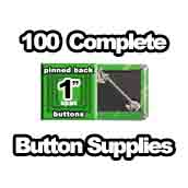 100 x Pinned Back Button Supplies 1 inch square