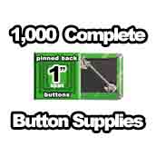 1,000 x Pinned Back Button Supplies 1 inch square