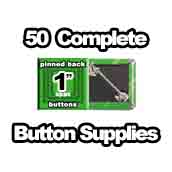 50 x Pinned Back Button Supplies 1 inch square