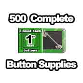 500 x Pinned Back Button Supplies 1 inch square