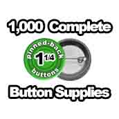 1,000 x Pinned Back Button Supplies 1-1/4 inch