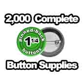 2,000 x Pinned Back Button Supplies 1-1/4 inch