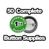50 x Pinned Back Button Supplies 1-1/4 inch