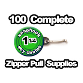 100 x Zipper Pull Supplies 1-1/4 inch