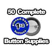 50 x Pinned Back Button Supplies 1-1/2 inch