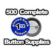 500 x Pinned Back Button Supplies 1-1/2 inch