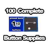 100 x Pinned Back Button Supplies 1-1/2 Square