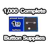 1,000 x Pinned Back Button Supplies 1-1/2 Square