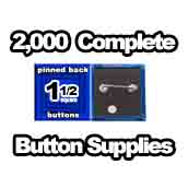 2,000 x Pinned Back Button Supplies 1-1/2 Square