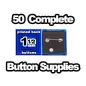 50 x Pinned Back Button Supplies 1-1/2 Square