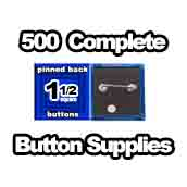 500 x Pinned Back Button Supplies 1-1/2 Square