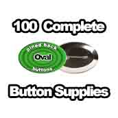 100 x Pinned Back Button Supplies Oval