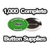 1,000 x Pinned Back Button Supplies Oval