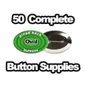 50 x Pinned Back Button Supplies Oval