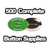500 x Pinned Back Button Supplies Oval
