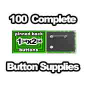 100 x Pinned Back Button Supplies 1-3/4x2-3/4 rectangle