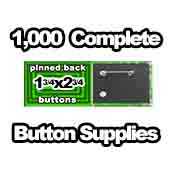 1,000 x Pinned Back Button Supplies 1-3/4x2-3/4 rectangle