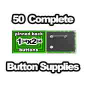 50 x Pinned Back Button Supplies 1-3/4x2-3/4 rectangle