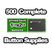 500 x Pinned Back Button Supplies 1-3/4x2-3/4 rectangle