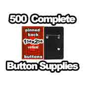 500 x Vertical Back Button Supplies 1-3/4x2-3/4 rectangle