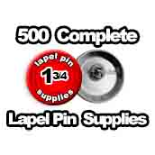 500 x Lapel Pin Supplies 1-3/4 inch