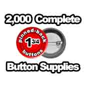2,000 x Pinned Back Button Supplies 1-3/4 inch