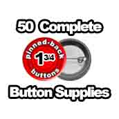 50 x Pinned Back Button Supplies 1-3/4 inch