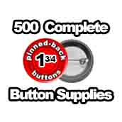 500 x Pinned Back Button Supplies 1-3/4 inch