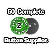 50 x Pinned Back Button Supplies 2 inch