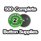 500 x Pinned Back Button Supplies 2 inch