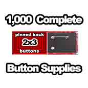 1,000 x Pinned Back Button Supplies 2x3