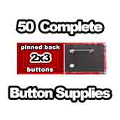 50 x Pinned Back Button Supplies 2x3