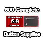 500 x Pinned Back Button Supplies 2x3