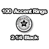 100 x Accent Rings Black 2-1/4 in.
