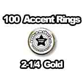 100 x Accent Rings Gold 2-1/4 in.