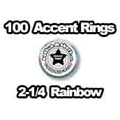 100 x Accent Rings Rainbow 2-1/4 in.