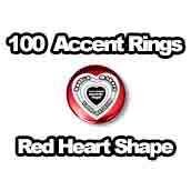 100 x Accent Rings Red Heart 2-1/4 in.