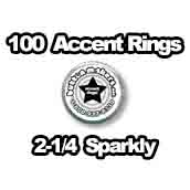 100 x Accent Rings Sparkly (Holographic) 2-1/4 in.
