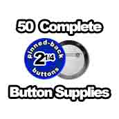 50 x Pinned Back Button Supplies 2-1/4 inch